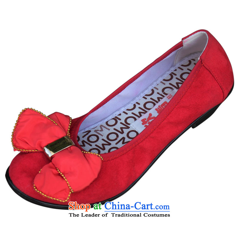 Yan Ching New XQ/ old Beijing mesh upper with stylish and cozy slope with mother women shoes . Bow Tie 101 Red35