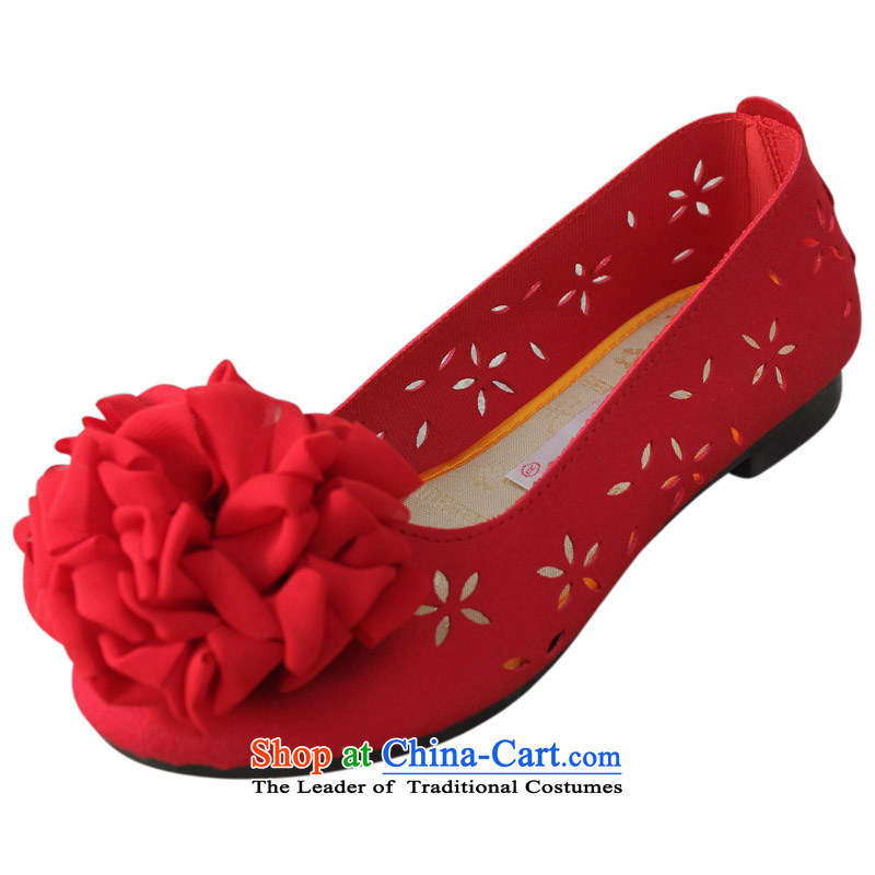 Yan Qing Beijing XQ/ mesh upper women shoes stylish and cozy large mother shoe flat bottom single shoe summer engraving breathable sandals floral 101 Red37