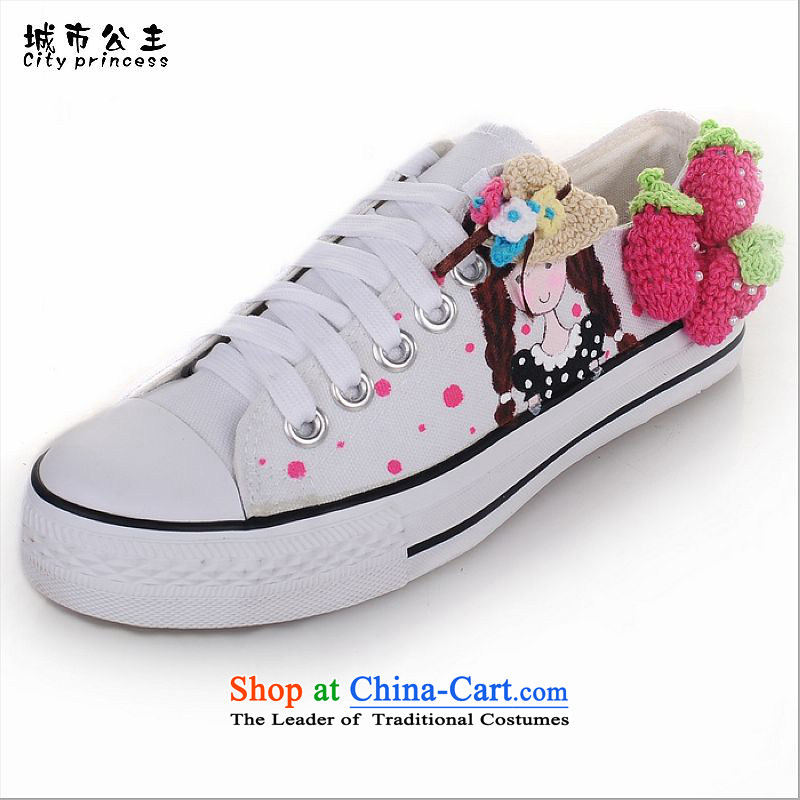 The new 2015 princess city hand-painted original DIY nails shoes to spend the tether strap canvas shoes leisure shoes DDB001 hand-painted white +standard code 38