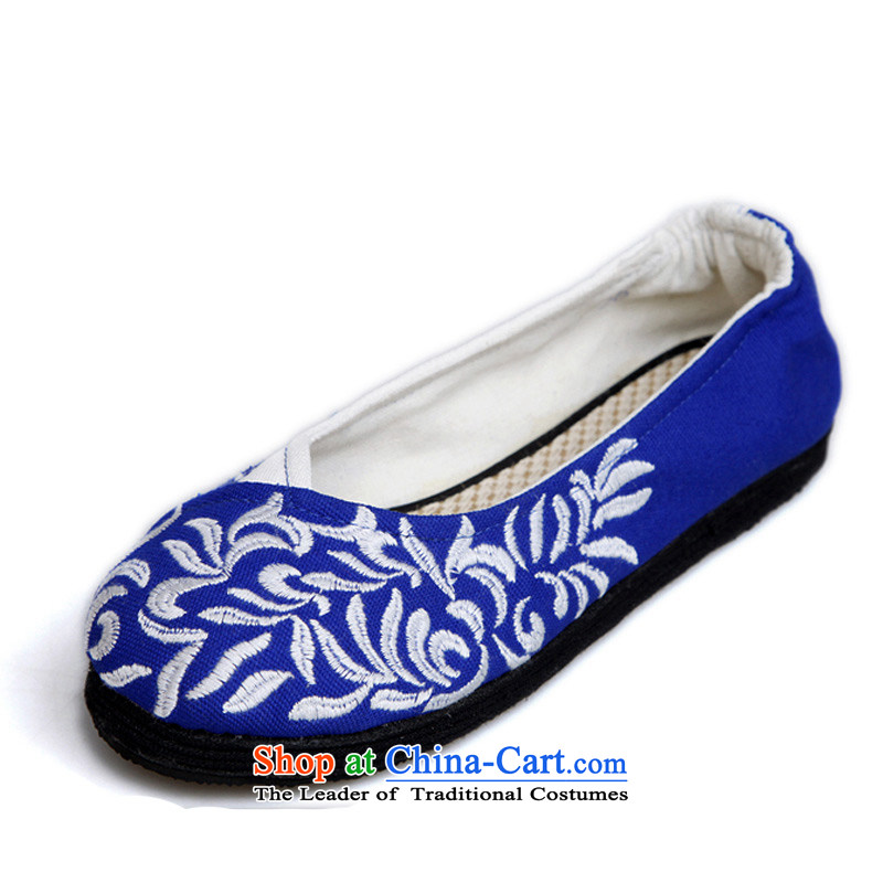 Performing Arts Old Beijing mesh upper end of thousands of embroidered shoes single women shoes leisure shoes Allowable misalignment for style S-15 Blue 36