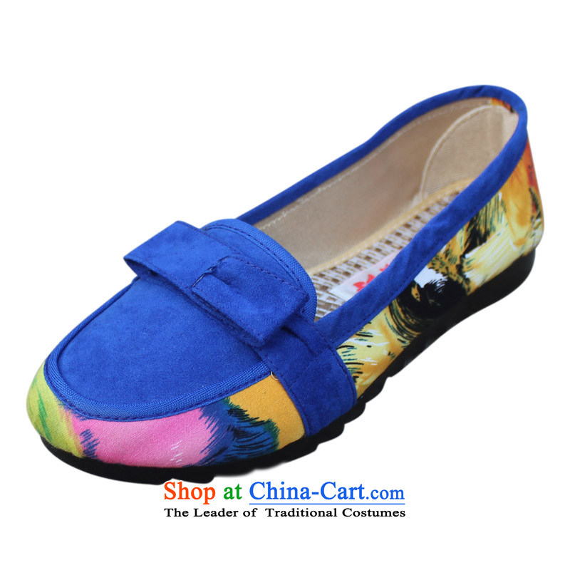 Yan Ching stylish light port low profile for flat bottom shoe breathable stylish and cozy single mother shoe pregnant women shoes of Old Beijing mesh upper women shoes850Blue41 home more discount)