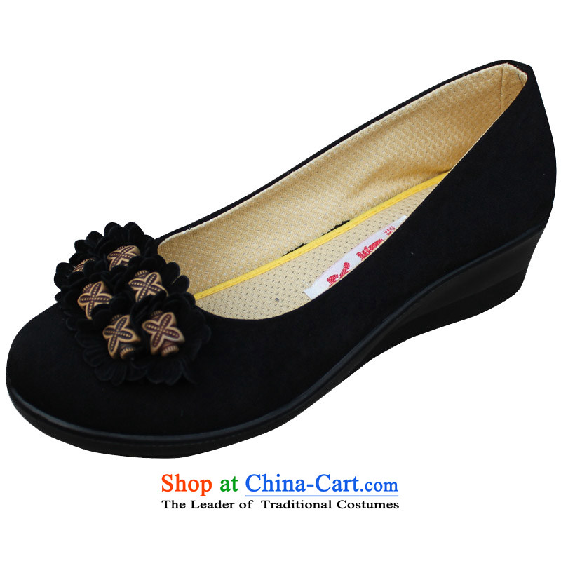 Yan Qing Chun Old Beijing women shoes single shoe mesh upper with slope women in old age with shallow port mother shoe overalls shoes13018Black36