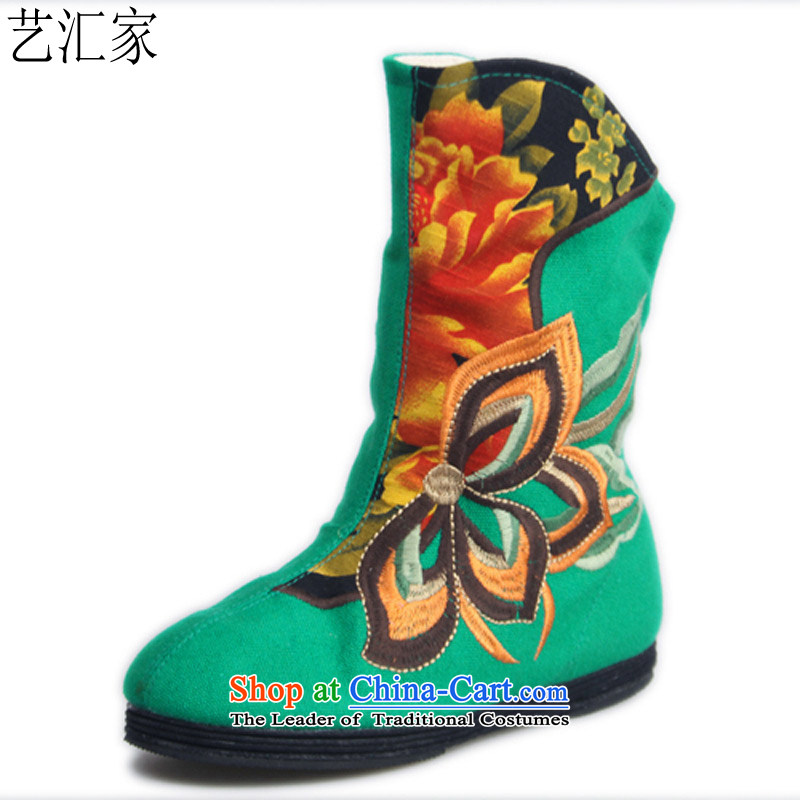Performing Arts of thousands of bottom embroidered shoes stylish bootie women shoes flat shoeHZ-10Green38