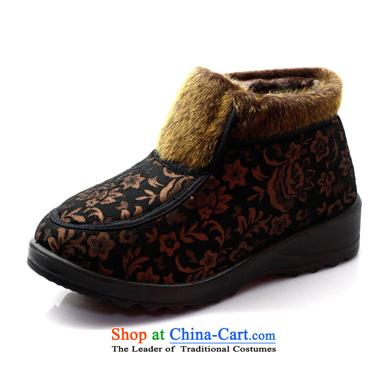 2013 WINTER new old Beijing mesh upper-warm female cotton shoes comfortable cotton shoes, casual women shoes mother shoe Y1316 cotton and coffee-colored聽37