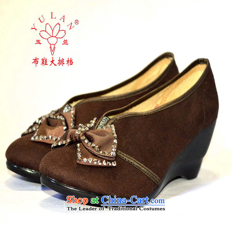Magnolia Old Beijing mesh upper diamond bow tie is smart casual slope with a lady's shoe 2312-816 Brown36