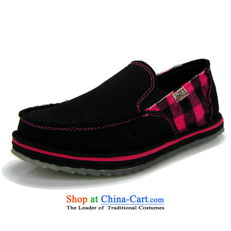 Music and stylish and cozy lehasyi manually bottom layer mesh upper with thousands of women silicone bottomof red checkered Lhy-1-nwj mesh upper black37