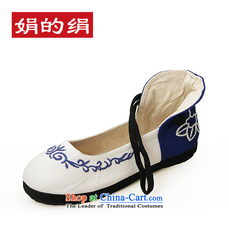The silk fall of Old Beijing National wind blue-mesh upper layer thousands ground embroidered shoes women shoes single Shoes, Casual Shoes 302 white 36