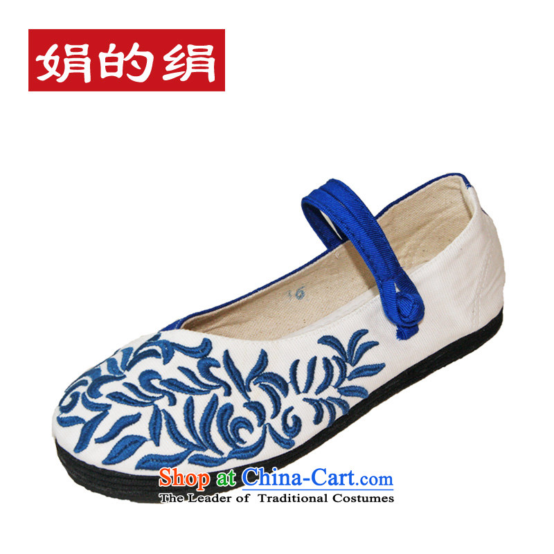 The silk autumn old Beijing mesh upper ethnic thousands ground embroidered shoes blue retro straps women shoes single Shoes, Casual Shoes 301 38