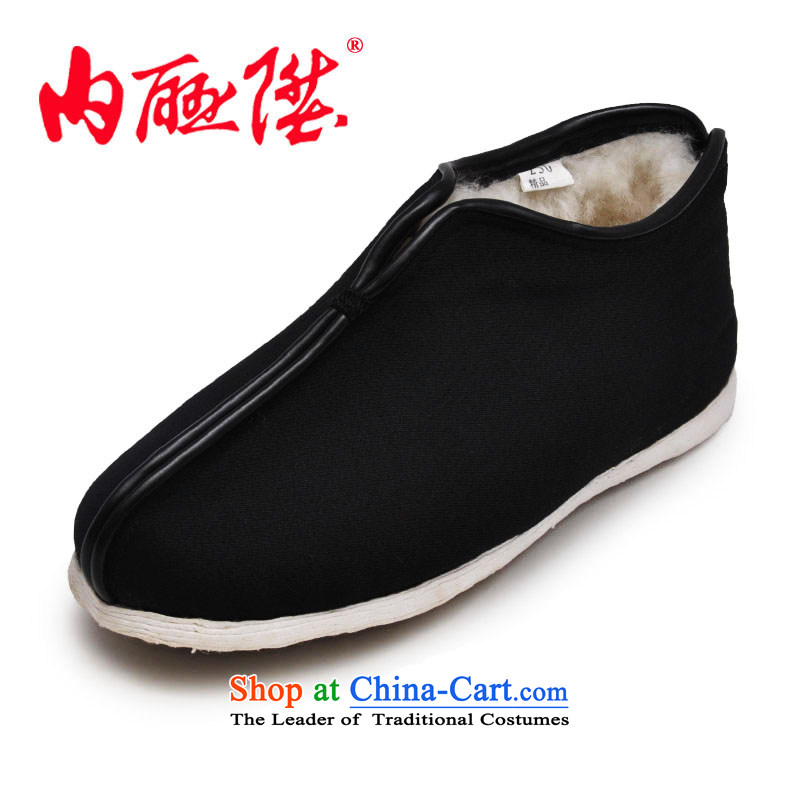 Inline l female cotton shoes mesh upper hand cross the bottom layer of thousands of craft wool on cotton shoes for autumn and winter warm cotton shoes of Old Beijing 8415A 8415A mesh upper black 37