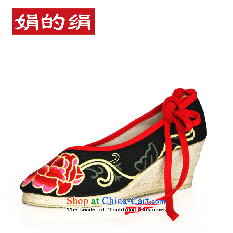 The silk fall of Old Beijing National wind and contemptuous of Mudan mesh upper embroidered shoes red shoes bride shoes, casual marriage with a lady's shoe single slope shoes303-6Black35