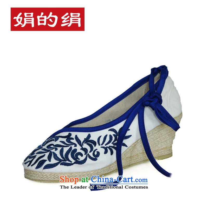 The silk fall of Old Beijing National wind the the high-heel shoes slope with the embroidered shoes porcelain straps mesh upper leisure shoes301-6white38
