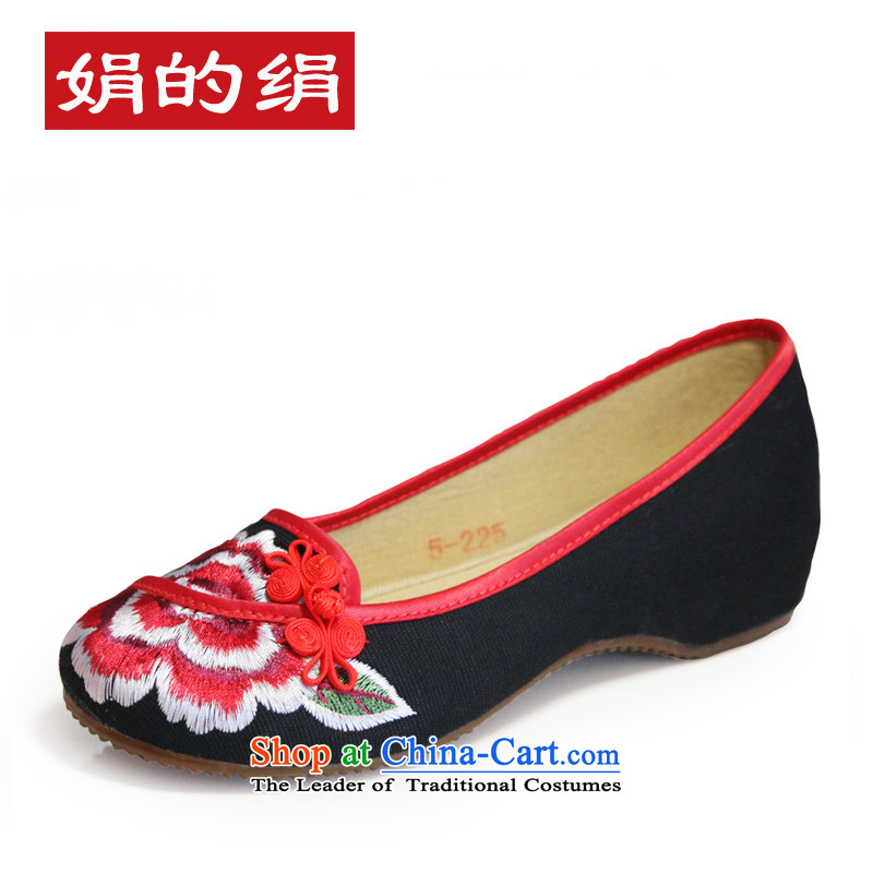 The silk spring and summer old Beijing mesh upper with ethnic slope leisure shoes single shoe bride shoes increased embroidered shoes A412-5 shoes black 36 Marriage