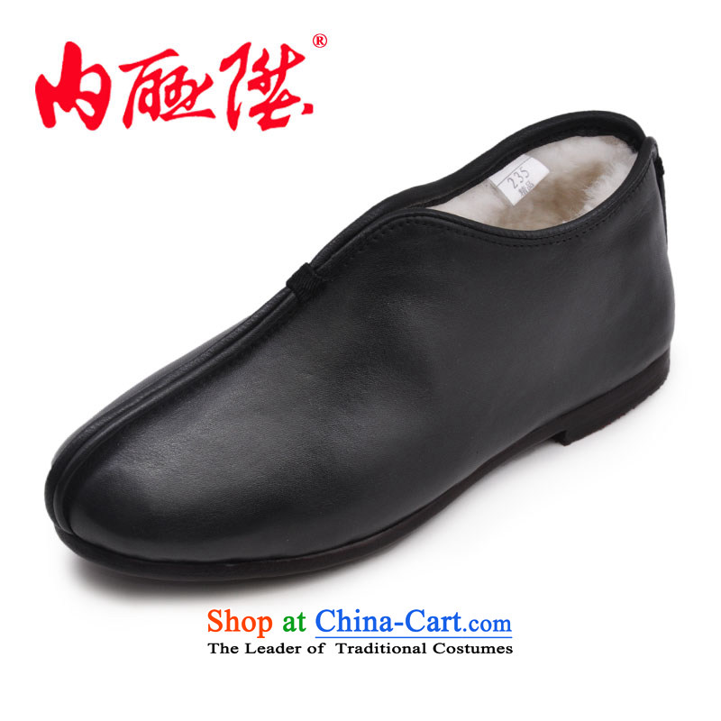 Inline l female cotton shoes leather upper with mesh female will parquet floor and wool-cotton shoes of Old Beijing mesh upper stylish casual women cotton shoes 7253A black 36