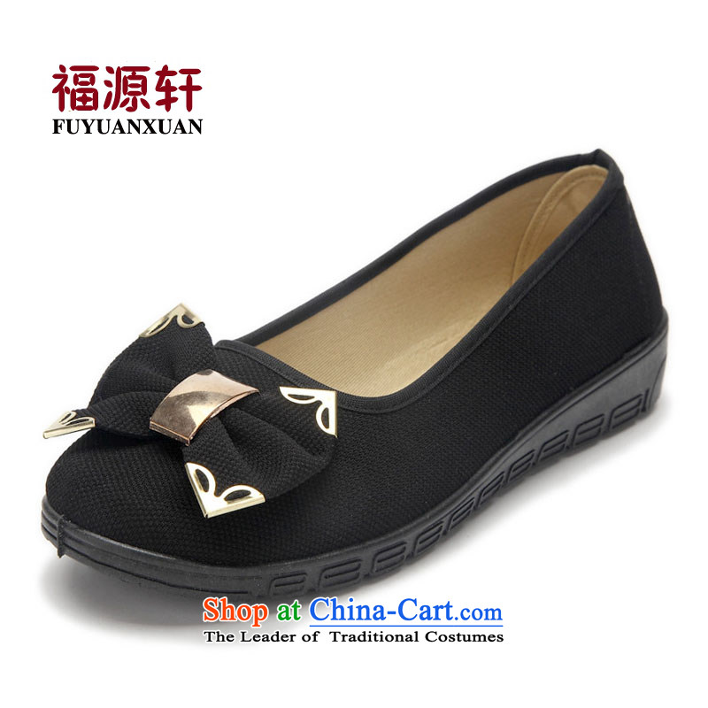 Ms. Old Beijing Modern Flower bow-tie mesh upper with stylish Fashion Wear Anti-slip gold mesh upper canvas shoes black35 (small size 1)