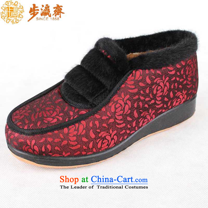 Genuine old step-young of Ramadan Old Beijing cotton shoes shoe mesh upper with a flat with a log of older women B2309 mother shoe cotton shoes Red 38