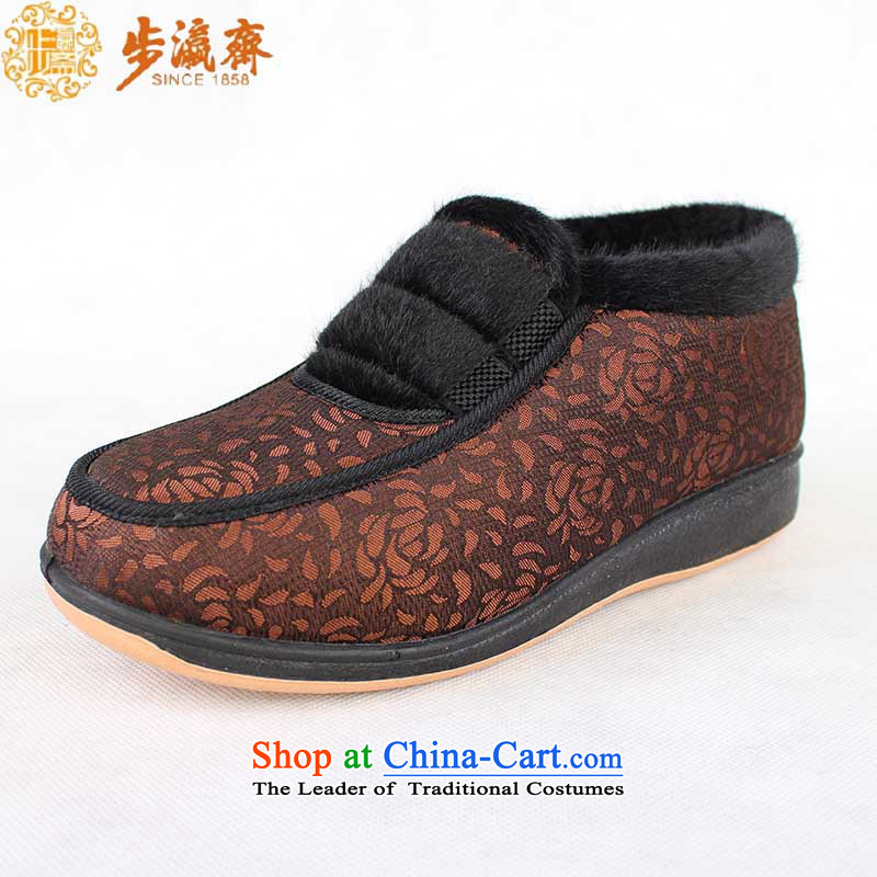 Genuine step-young of Old Beijing mesh upper women Ramadan footwear in the elderly mother rubber sole non-slip comfortable warm winter cotton shoes聽B2310 female cotton shoes brown聽36