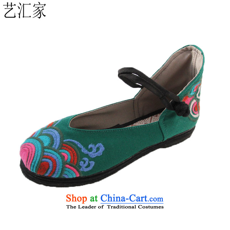 Performing Arts Old Beijing mesh upper ethnic embroidered shoes bottom of thousands of women shoes at the green mesh upper 40