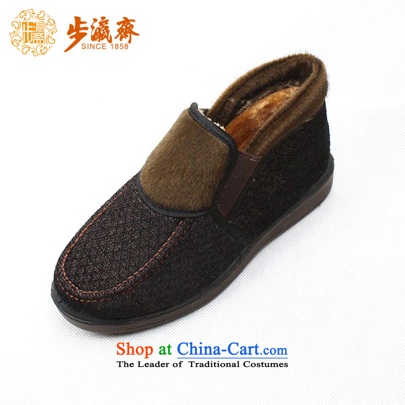 Genuine old step-young of Ramadan Old Beijing cotton shoes shoe mesh upper middle-aged mother rubber sole shoes WD268-883 warm winter female cotton shoes black 35