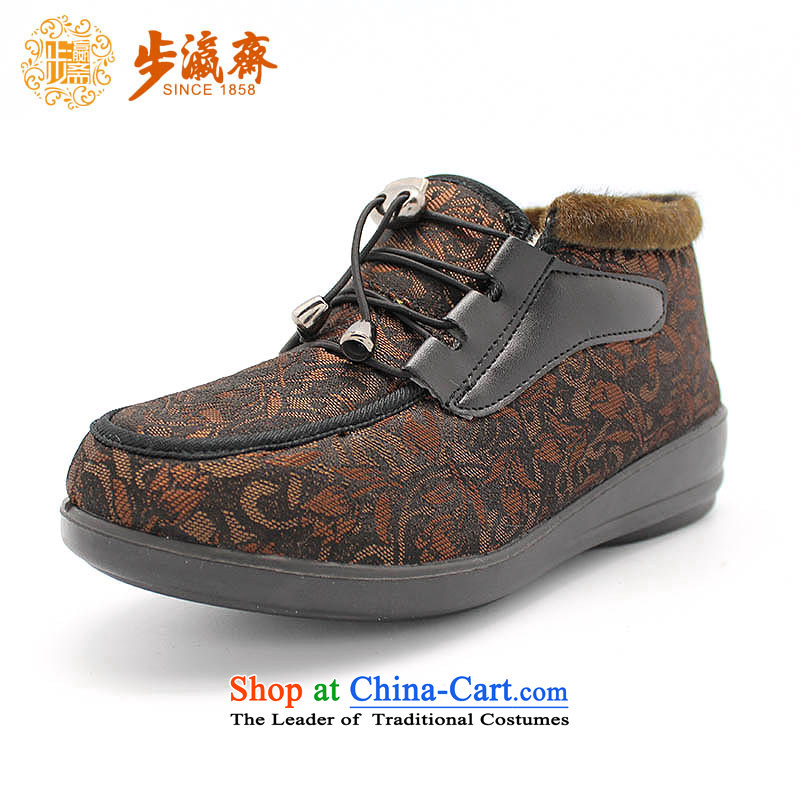 Genuine old step-young of Ramadan Offer Old Beijing mesh upper cotton shoes women shoes in older mother shoe BF-117 warm winter female cotton shoes brown 34