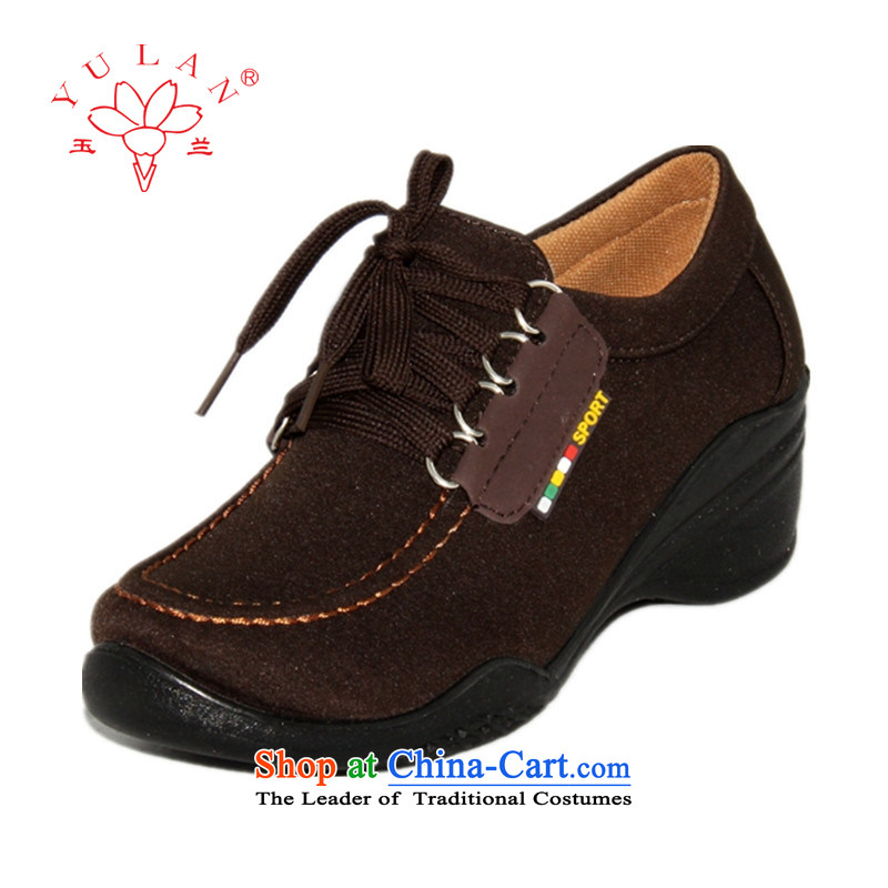Magnolia Old Beijing mesh upper with tether Ms. slope leisure shoes 2312-1018 Brown 37