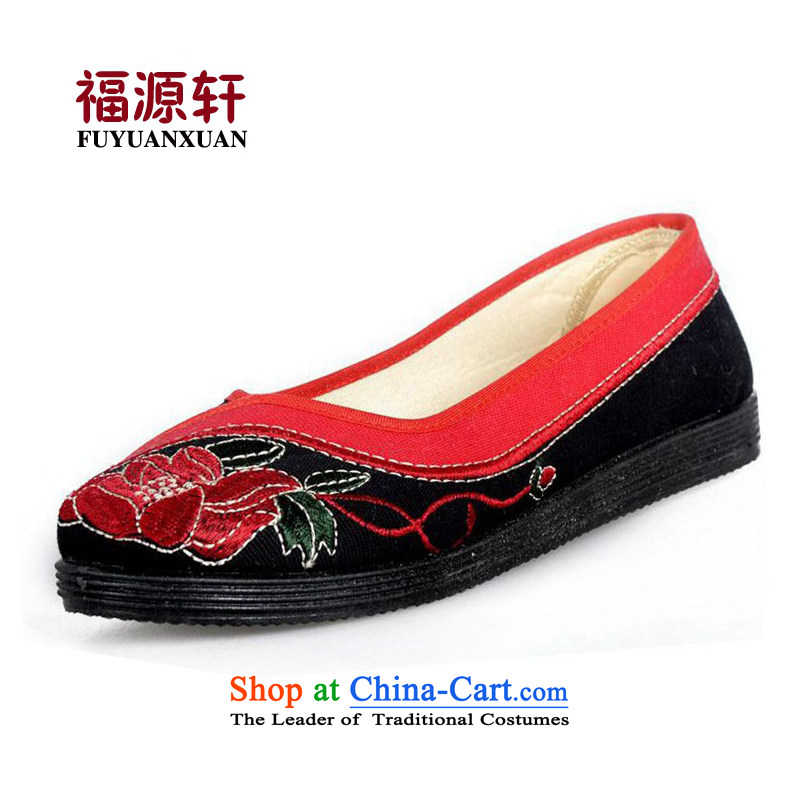 2014 new spring, summer, autumn and the old Beijing embroidered shoes stylish embroidered shoes mother breathable flat shoes with black and red 39
