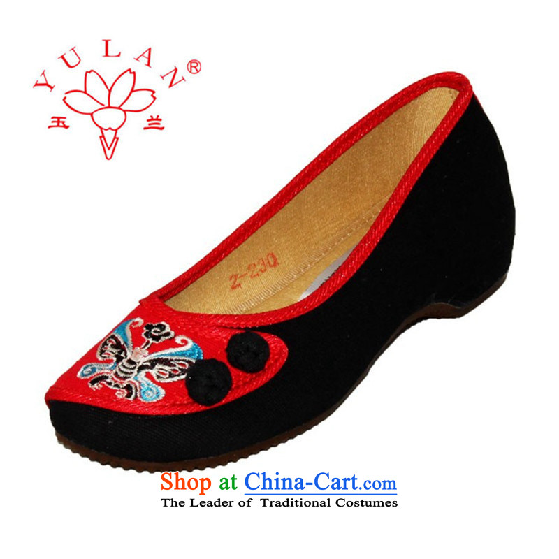 Magnolia Old Beijing mesh upper spring and summer ethnic Peking opera embroidered shoes, increase color stitching slope with the female singles Shoes, Casual Shoes 2312-1015 Black聽39