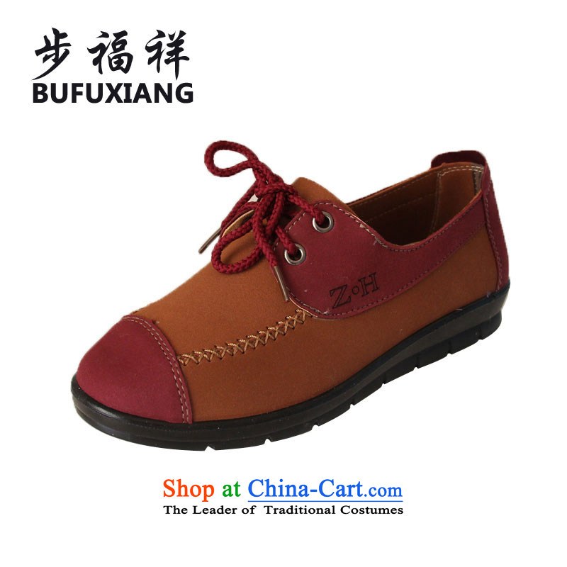 Step Fuxiang leisure shoes of Old Beijing stylish new moms mesh upper shoes single shoe ZH-06 Red 39
