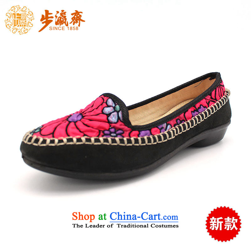 The Chinese old step-young of Ramadan Old Beijing mesh upper leisure wear to the Mother Nature of anti-skid lady's shoeB2335 womens single shoe black 34