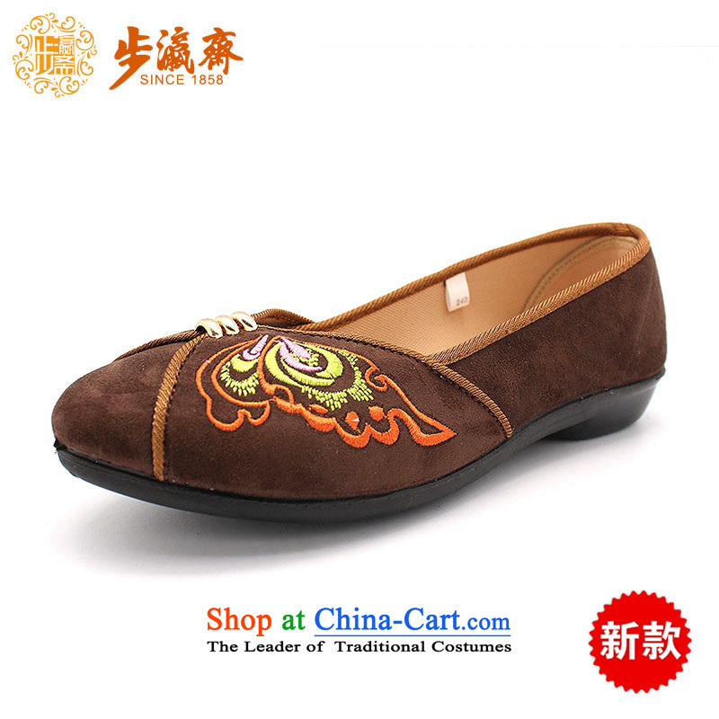 The Chinese old step-young of Ramadan Old Beijing mesh upper leisure wear to the Mother Nature of anti-skid lady's shoe B2342 womens single shoe brown 38
