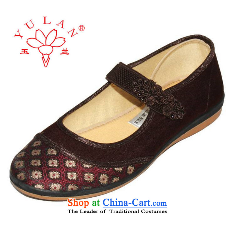 Magnolia Old Beijing mesh upper spring and autumn, women shoes a field has a non-slip soft bottoms wear sleeve detained in older mother shoe embroidered elastic shoe 2312-1030 Brown 40