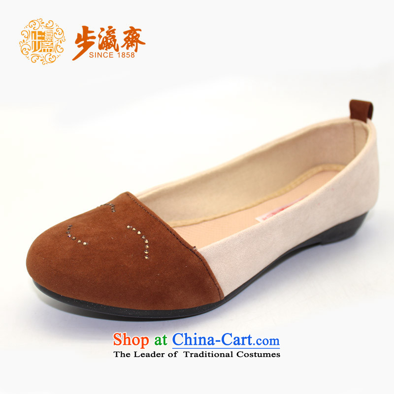 Genuine old step-young of Old Beijing mesh upper slip Ramadan wear shoes gift home leisure shoes shoe womens single shoe womens single brown shoes 23108 39