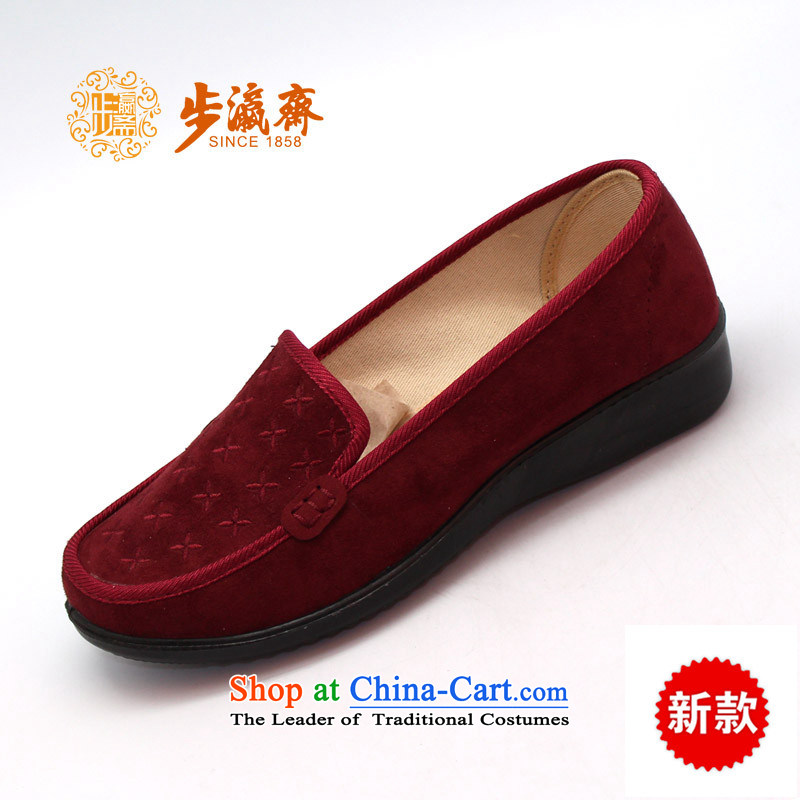 The Chinese old step-young of Old Beijing mesh upper slip Ramadan wear shoes gift home leisure shoes shoe womens single shoe 23199 wine red 35