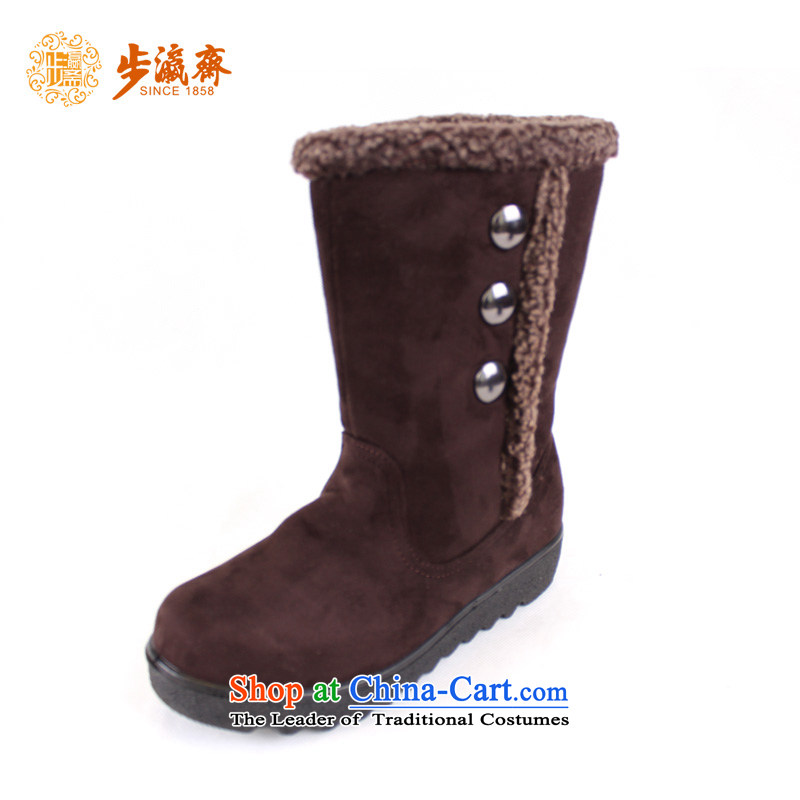 Genuine step-young of Old Beijing mesh upper women Ramadan footwear in the elderly mother rubber sole non-slip comfortable warm winter cotton shoes聽56432 Female cotton shoes dark brown聽38