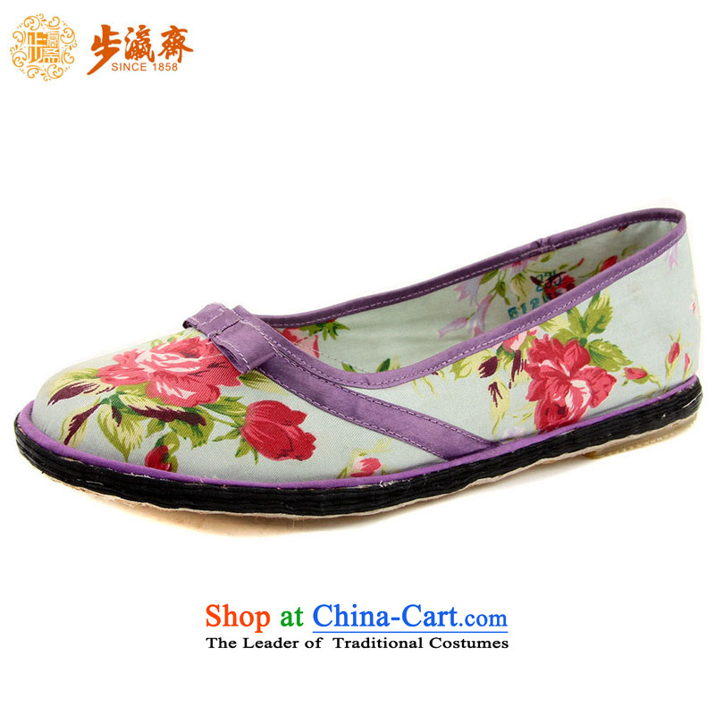 Genuine old step-young of Ramadan Old Beijing mesh upper hand embroidered ground sent thousands of Mom Gifts and Crafts women apply glue to the bottom of the shoes flowers women shoes purple (increased) 47