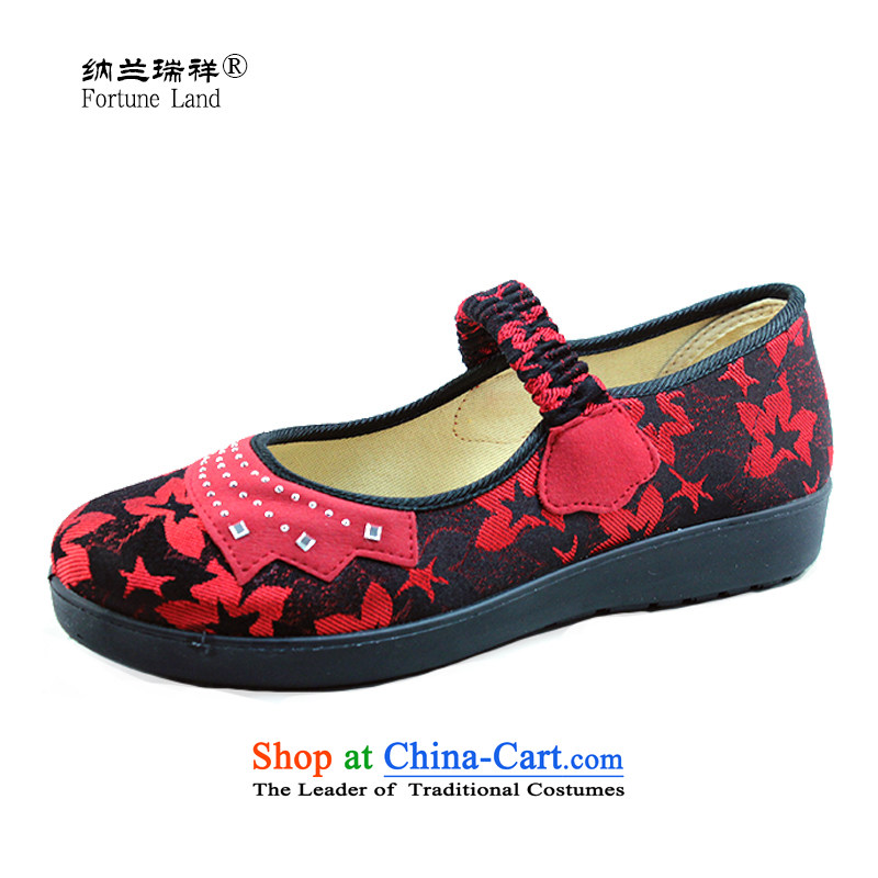 Genuine Old Beijing cloth shoes Lanna Ruixiang 2014 Spring new women's single shoe flat bottom mother shoe leisure shoes Ladies Footwear 1049 Red聽40