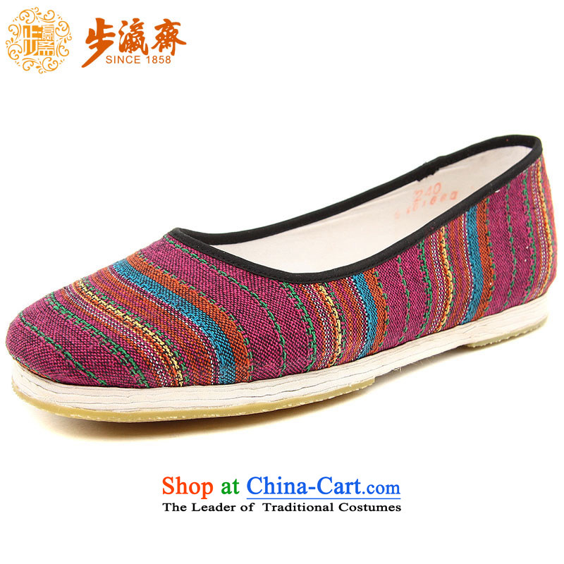 Genuine old step-young of Ramadan Old Beijing mesh upper hand thousands of coat embroidered with streaks mother Lady's temperament apply glue to the bottom of the shoes red sea in the women's commission wine red 34