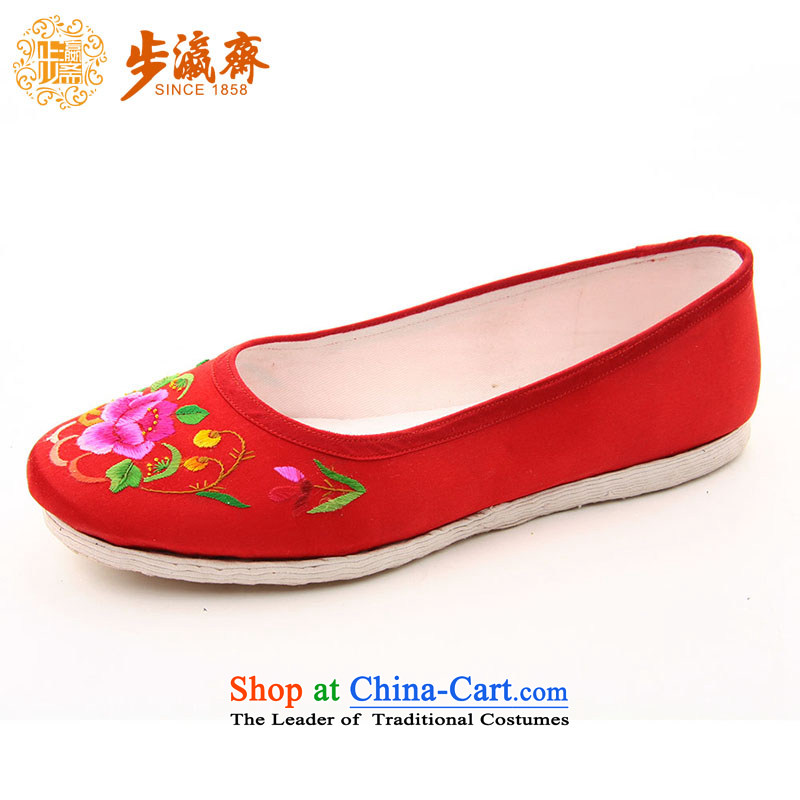 The Chinese old step-young of Ramadan Old Beijing mesh upper hand bottom thousands of embroidered mother Lady's temperament shoes thousands yuan shoes peony flowers Red 36