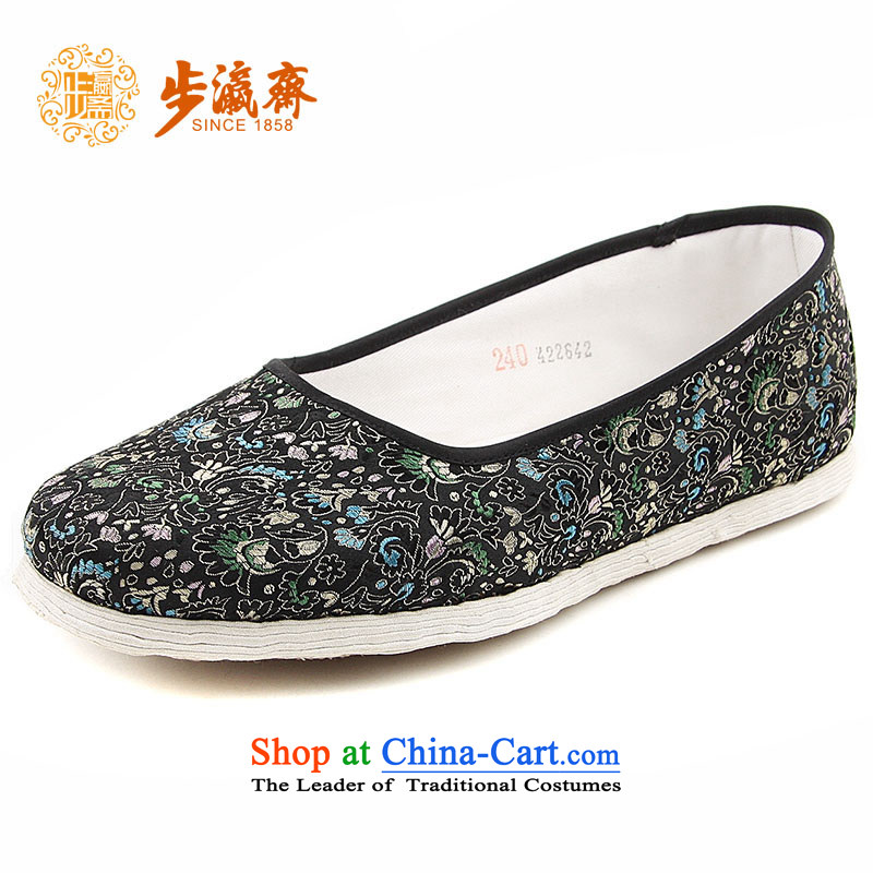 The Chinese old step-young of Ramadan Old Beijing mesh upper hand bottom thousands of embroidered mother Lady's temperament shoes thousands of black sea chicken crest RMB Female shoes black聽35