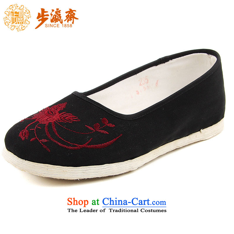 The Chinese old step-young of Ramadan Old Beijing mesh upper hand thousands of coat embroidered safflower mother Lady's temperament shoes bottom embroidered safflower thousands of women shoes Black聽_increased_ 47