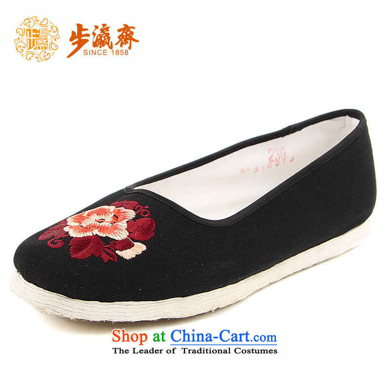 The Chinese old step-young of Ramadan Old Beijing mesh upper hand embroidered ground of thousands of Mother Nature lady's shoe-bottom embroidered Mission expended women shoes black 36