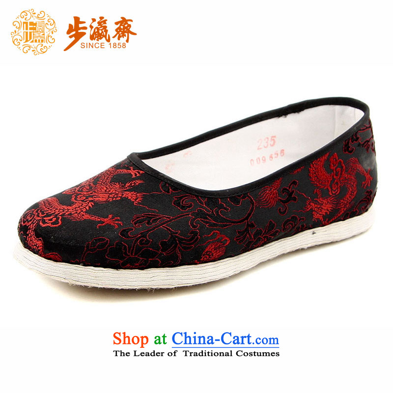 The Chinese old step-young of Ramadan Old Beijing mesh upper hand bottom-Soo Yong thousands of Mother Nature lady's shoe-bottom satin red dragon lady's shoe black聽35