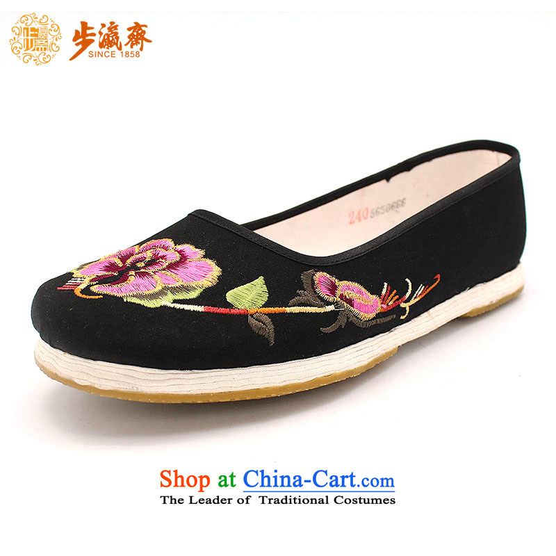 The Chinese old step-young of Ramadan Old Beijing mesh upper hand bottom shoe thousands of anti-skid shoes single leisure gift embroidery film A-3 women shoes black 36