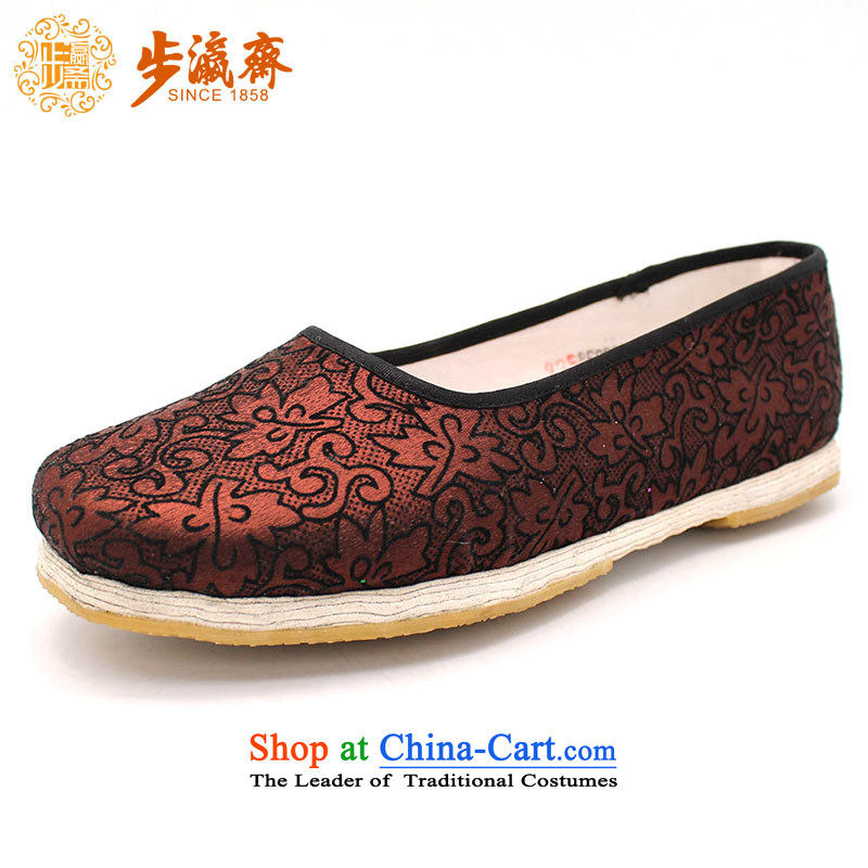 The Chinese old step-young of Ramadan Old Beijing mesh upper hand embroidered ground sent thousands of Mom Gifts home women shoes film A-7 Brown 38