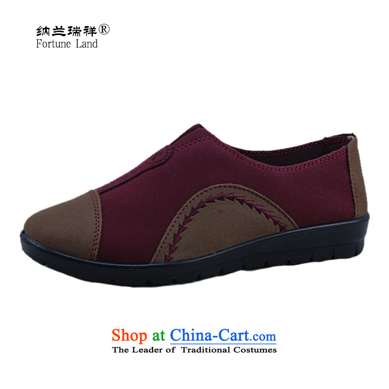Naslin Ruixiang Old Beijing mesh upper middle-aged with soft, non-slip shoes flat bottom click MOM shoes, casual women shoes autumn single shoes, low shoe pin Red 36