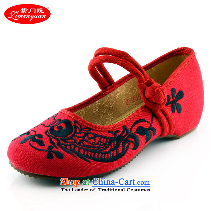 The first door of Old Beijing mesh upper female embroidered shoes of ethnic embroidery single shoe small slope with the increase in vogue 412-64 Red 36