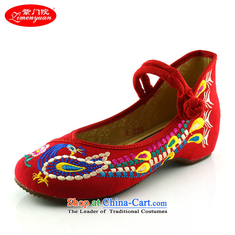 The first door of Old Beijing mesh upper couture embroidered shoes of ethnic embroidery single shoe marriage shoes, casual classic small slope 412-56 with Red 34