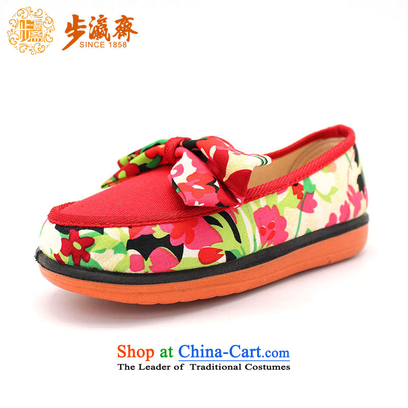 Genuine old step-young of Old Beijing mesh upper spring and autumn Ramadan_ Children shoes anti-slip soft bottoms baby children wear shoes聽B106-591 single Children shoes red聽26 _18cm code