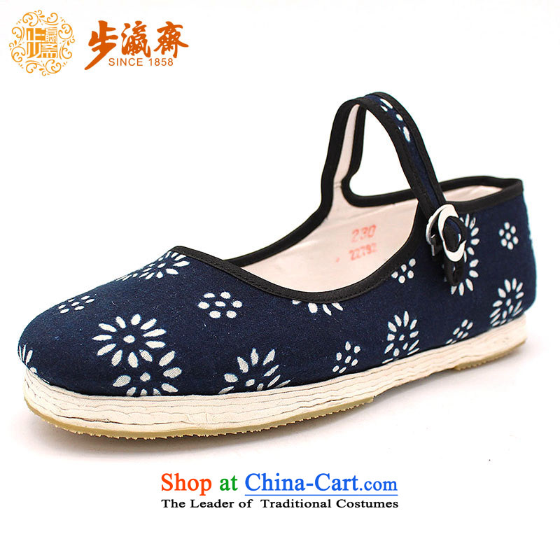 The Chinese old step-young of Ramadan Old Beijing mesh upper hand bottom thousands of embroidered mother Lady's temperament shoes bottom thousands of batik generation woman shoes Dark Blue 34