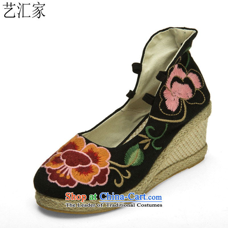 Performing Arts stylish mother embroidered shoes increased within the high-heel shoes spring and summer fall new single Shoes, Casual Shoes slope with women shoes of Old Beijing mesh upper black 35