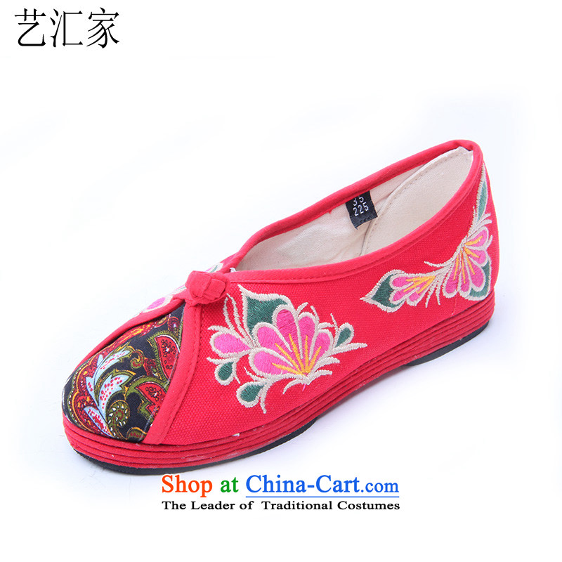 Performing arts companies through the spring and fall of ethnic embroidered shoes bottom thousands of mesh upper flat shoe single shoe old Beijing mesh upper HZ-14 Red 40